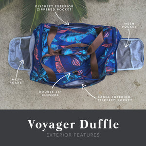 diagram showing the discreet exterior zippered pocket, mesh pocket, double zip closure, and large exterior zippered pocket of the salt atlas voyager duffle in blue lily print.