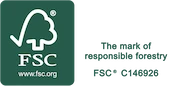 ALL WOOD MATERIALS WE USE ARE FSC® CERTIFIED