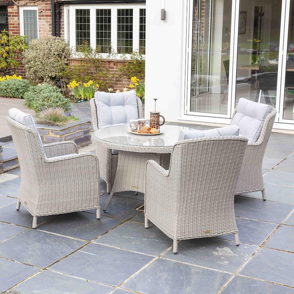 Astor 4 Seater Grey Rattan Garden Dining Table and Chair Set | Galleon