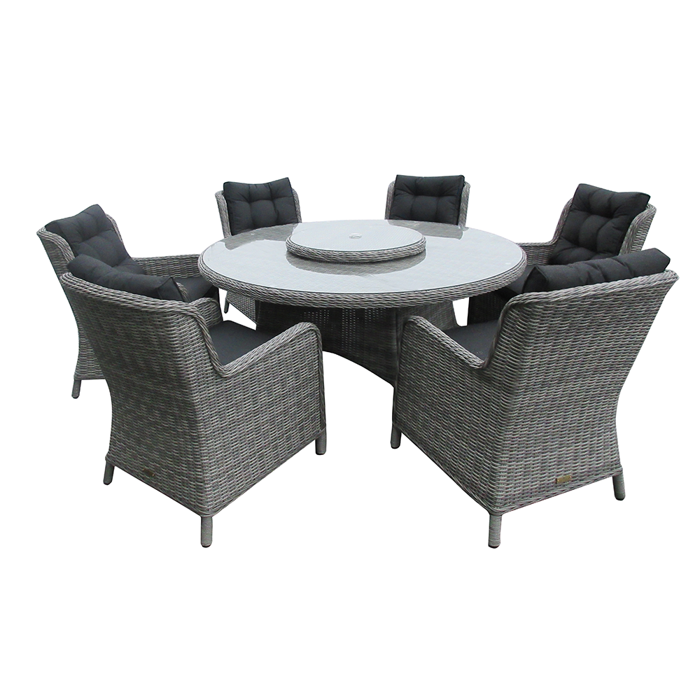 Astor Dark 6 Seat Round Dining Set