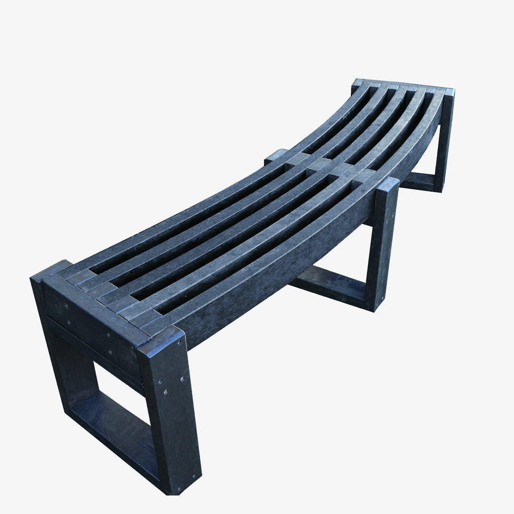 Manticore Lumber curved black recycled plastic bench