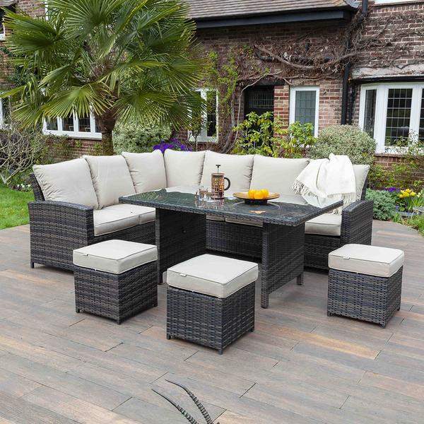 Huxley Brown 9 Seater Rattan Corner Dining Table & Chair Set | Galleon