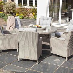 Astor 6 Seater Grey Rattan Garden Dining Table and Chair Set | Galleon