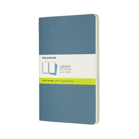 Moleskine Cahier Notebook Set of 3 LARGE: Brisk Blue