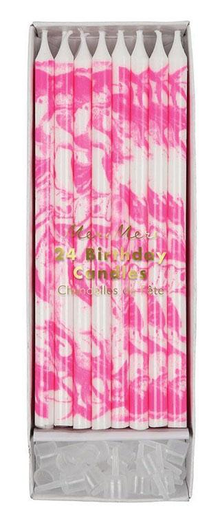 Meri Meri Marbled Candles: Neon Pink