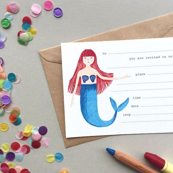 Pulp fill-in Invitations: Mermaid
