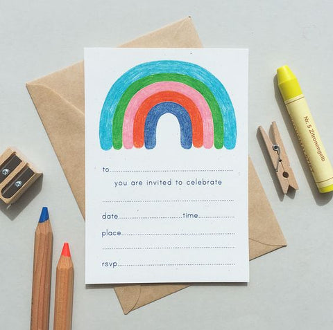Pulp fill-in Invitations: Rainbow