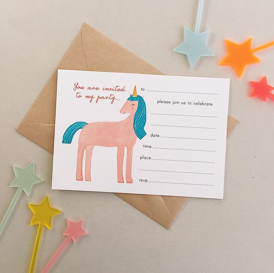 Pulp fill-in Invitations: Unicorn