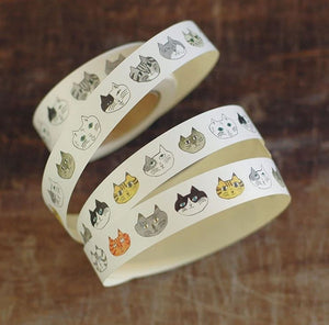 Toranekobonbon Sticker Roll: Cat / Dog 18mm
