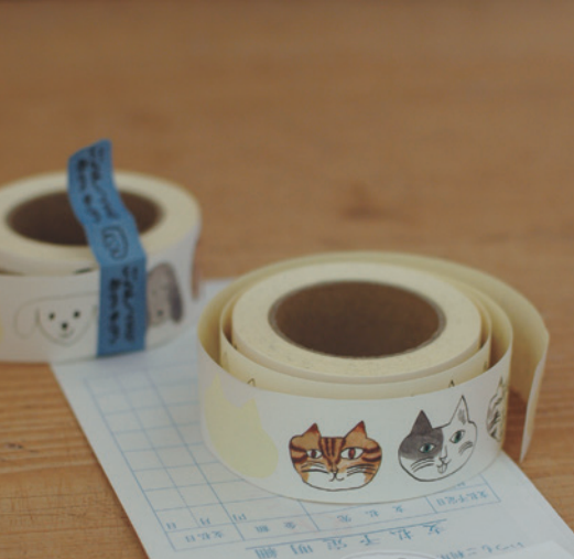 Toranekobonbon Sticker Roll: Cat / Dog 30mm