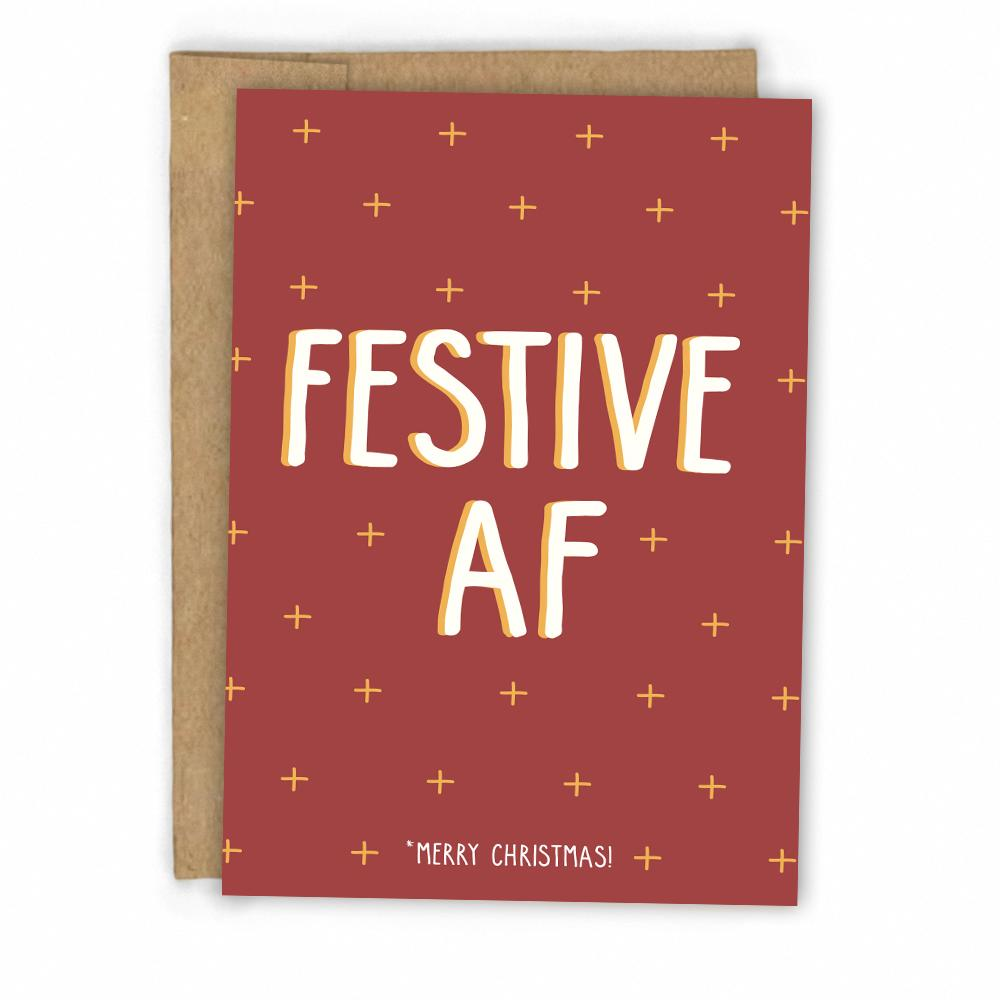 Festive AF Christmas Card – Fresh Card Co