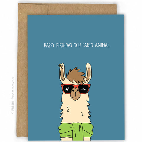 Funny Happy Birthday Card Party Animal By Fresh Co