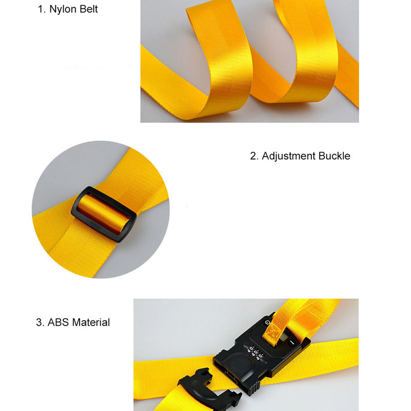 Luggage Straps Adjustable Suitcase Baggage Belts with 3-Dial Combination Lock FB