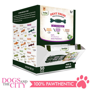"Dentalight 8230 Dent Fresh 3"" 360° Toothbrush Mix Dog Treats 50pcs/box - All Goodies for Your Pet"