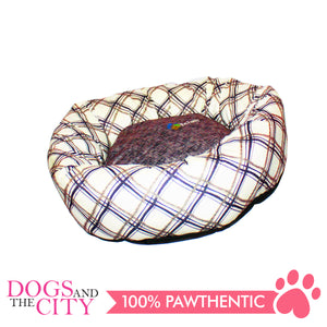 YYY W15M Donut Shape Checkered Pet Bed Medium 50x50x10cm for Dog and Cat