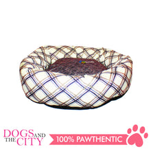 Load image into Gallery viewer, YYY W15S Donut Shape Checkered Pet Bed Small 40x40x10cm for Dog and Cat
