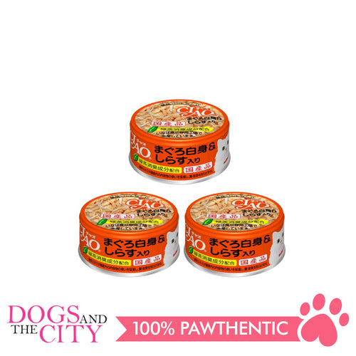 CIAO A-02  White Meat Tuna with Shirasu in Jelly Cat Wet Food 85g (3 cans)