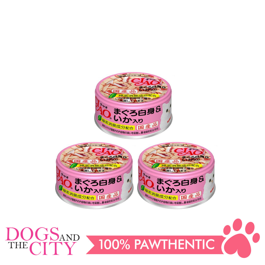CIAO A-03 White Meat Tuna with Cuttle Fish in Jelly Cat Wet Food 85g (3 cans)