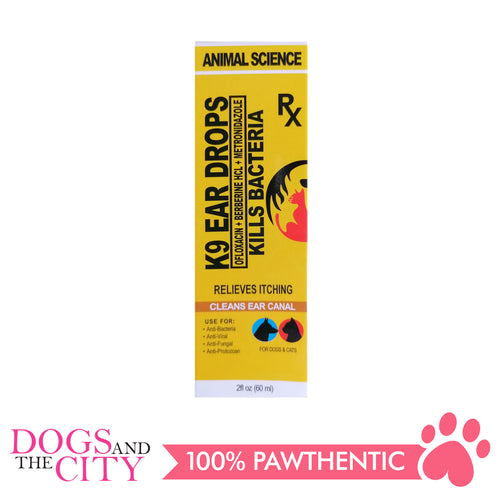 Animal Science K9 Ear Drops 60ml - Dogs And The City Online