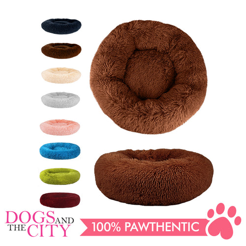 BM Donut Calming Pet Bed, Faux Fur Washable Bed for Pets, Marshmallow Cat or Dog Round Bed 60x60x26cm