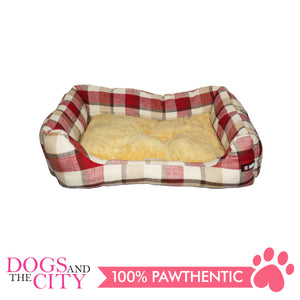 BM Rectangular Plaid Pet Bed Size 2 55x40x12cm for Dog and Cat