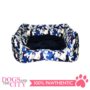 BM Rectangular Modern Camouflage Pet Bed Sz 2 50x45x10cm for Dog and Cat