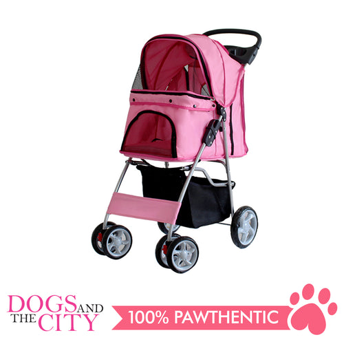 BM SP02 4 Wheel Pet Stroller Pink