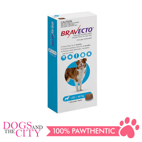 Bravecto Large (20-40KG) Anti Tick and Flea Chewable Tablet for Dogs