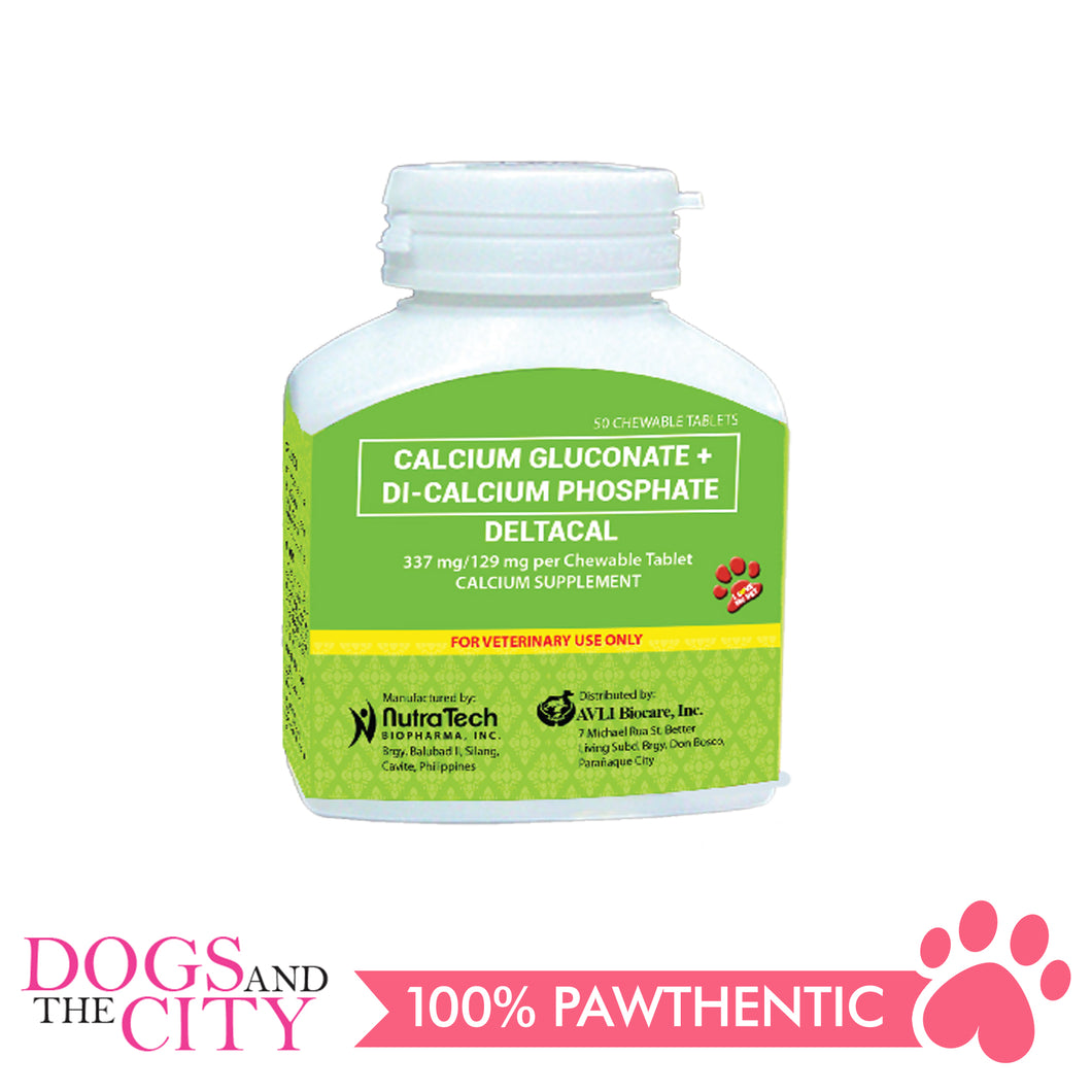 Calcium Gluconate+Di-Calcium Phosphate Deltacal 50's Chewable - Dogs And The City Online