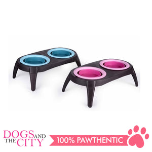 DGZ Collapsible Silicone Double Pet Bowl Feeder with Stand