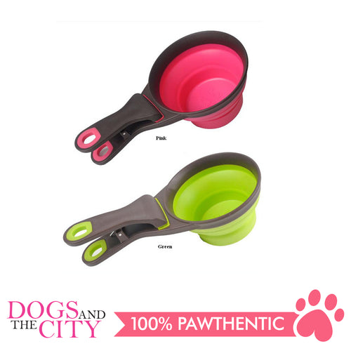 DGZ Collapsible Pet Scoop Silicone Measuring Cups Bag Clip and Travel Bowl for Cat and Dog MEDIUM