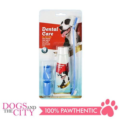 DGZ Pet Dog Dental Care 4in1 Set Toothpaste Beef Flavor 95g with 2 Finger Toothbrush and 1 Long Toothbrush