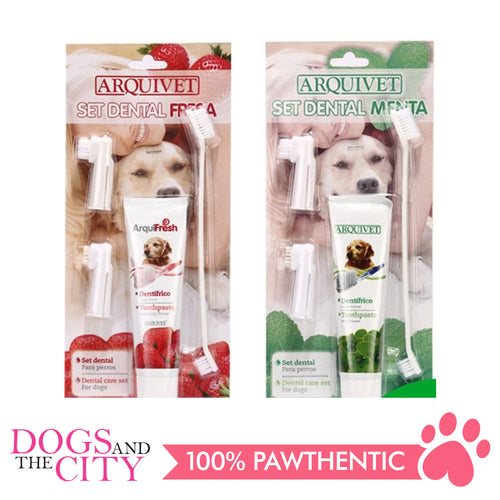 ARQUIVET Dog Toothpaste 100g and Toothbrush Set, Removes Food Debris, Super Easy Cleaning, Dental Care Set for Dog, with 2 Finger Toothbrushes