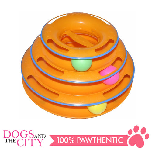 DGZ Painted Three-layer Puzzle Cat Play Plate Interactive Cat Toy 25cm