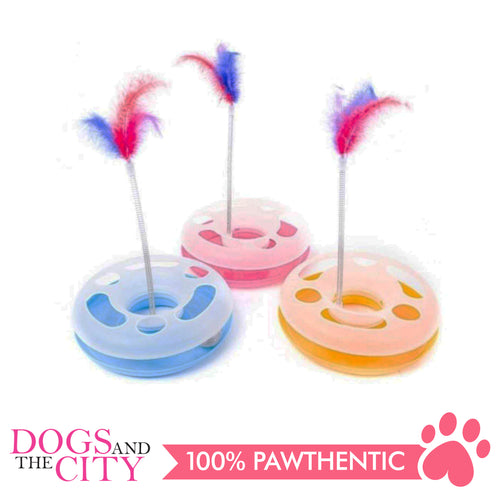 DGZ Round Feather Cat Toy Play Plate 25cm
