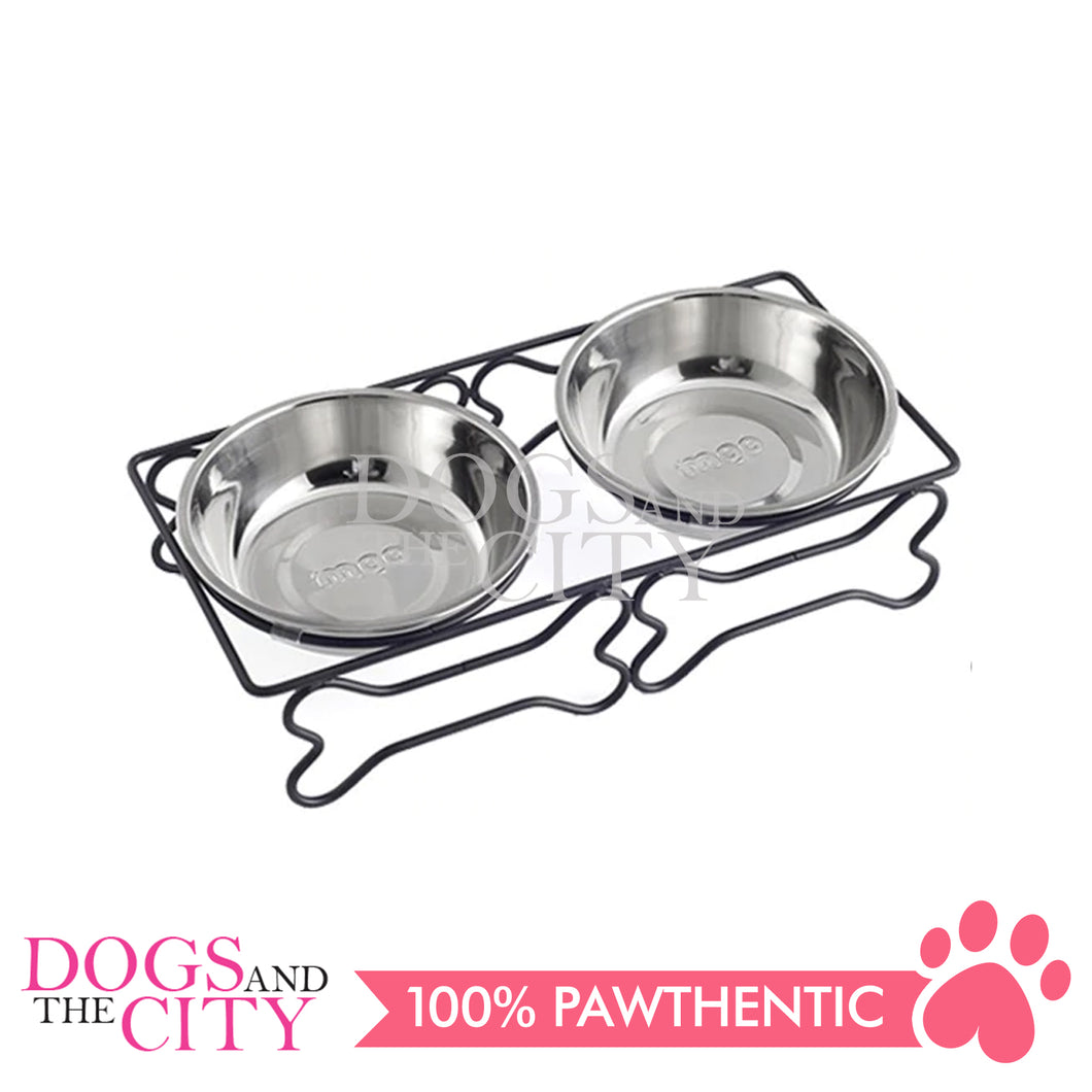 DGZ HCB-TJ26G Small Steel Frame Bone Shaped Stainless Steel Bowl 26*12.7*7Cm