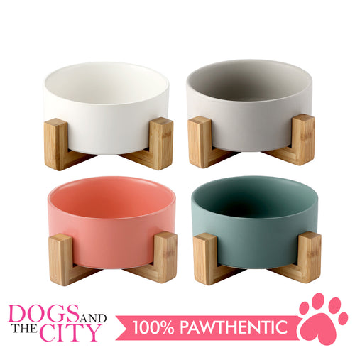 DGZ Nordic Ceramic Pet Bowl With Wood Stand Small 400ml 16cmx6.5cm for Dog and Cat