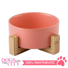 Load image into Gallery viewer, DGZ Nordic Ceramic Pet Bowl With Wood Stand Small 400ml 16cmx6.5cm for Dog and Cat