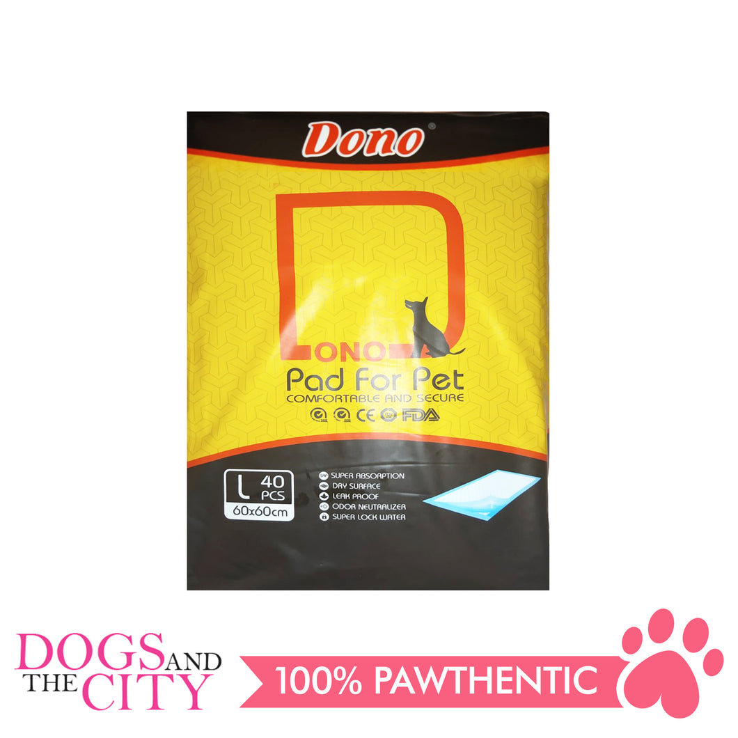 Dono Training Pads 60x60cm LARGE 40's - All Goodies for Your Pet
