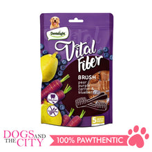 "Load image into Gallery viewer, DENTALIGHT 10103 3.7"" Medium Vital Fiber Brush×5pcs 85g Pear, Purple Carrot, Blueberry Dog Treats"