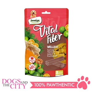 "DENTALIGHT 10127 3"" Small Vital Fiber Wellbar×8pcs 80g Honey, Fennel Seed, Kumquat Dog Treats"