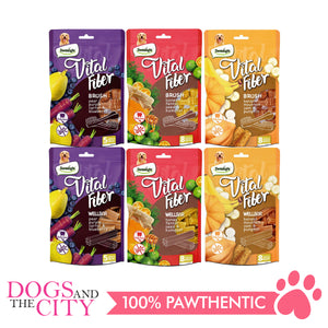 "DENTALIGHT 10103 3.7"" Medium Vital Fiber Brush×5pcs 85g Pear, Purple Carrot, Blueberry Dog Treats"