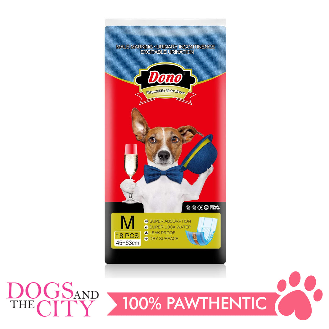 Dono Disposable Dog Diapers Male-Denim Style MEDIUM (18PCS) - Dogs And The City Online