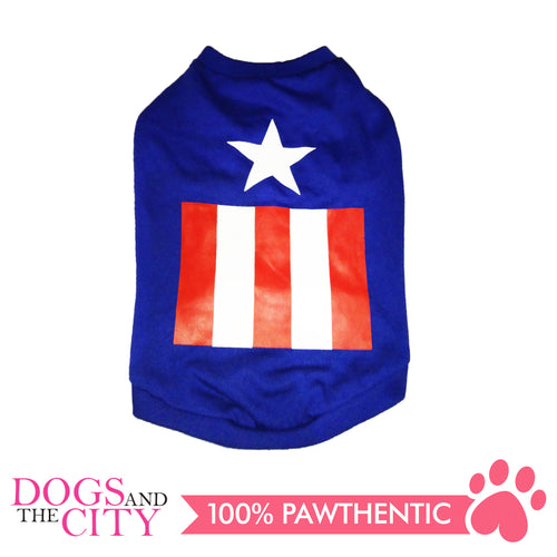 Doggiestar Captain America Blue Basic T-Shirt for Dogs - All Goodies for Your Pet