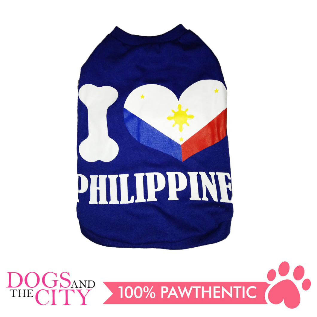 Doggiestar I Love Philippines Blue T-Shirt for Dogs - All Goodies for Your Pet