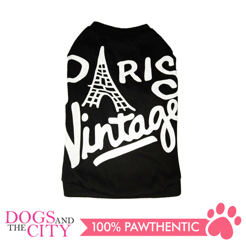 Doggiestar Paris Vintage Black T-Shirt for Dogs - All Goodies for Your Pet