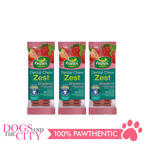 Happi Doggy Treat 2.5 Inches 28g Strawberry Flavor (3 packs) - All Goodies for Your Pet