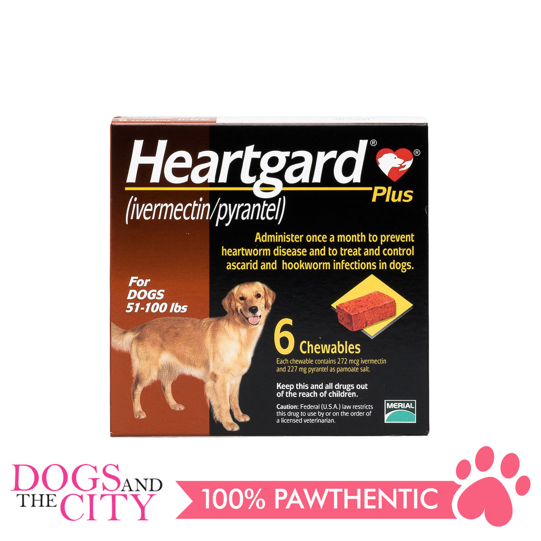 Heartgard Plus Chewable Tablets for Dogs, 23kg to 45kg (6 chewables) - All Goodies for Your Pet
