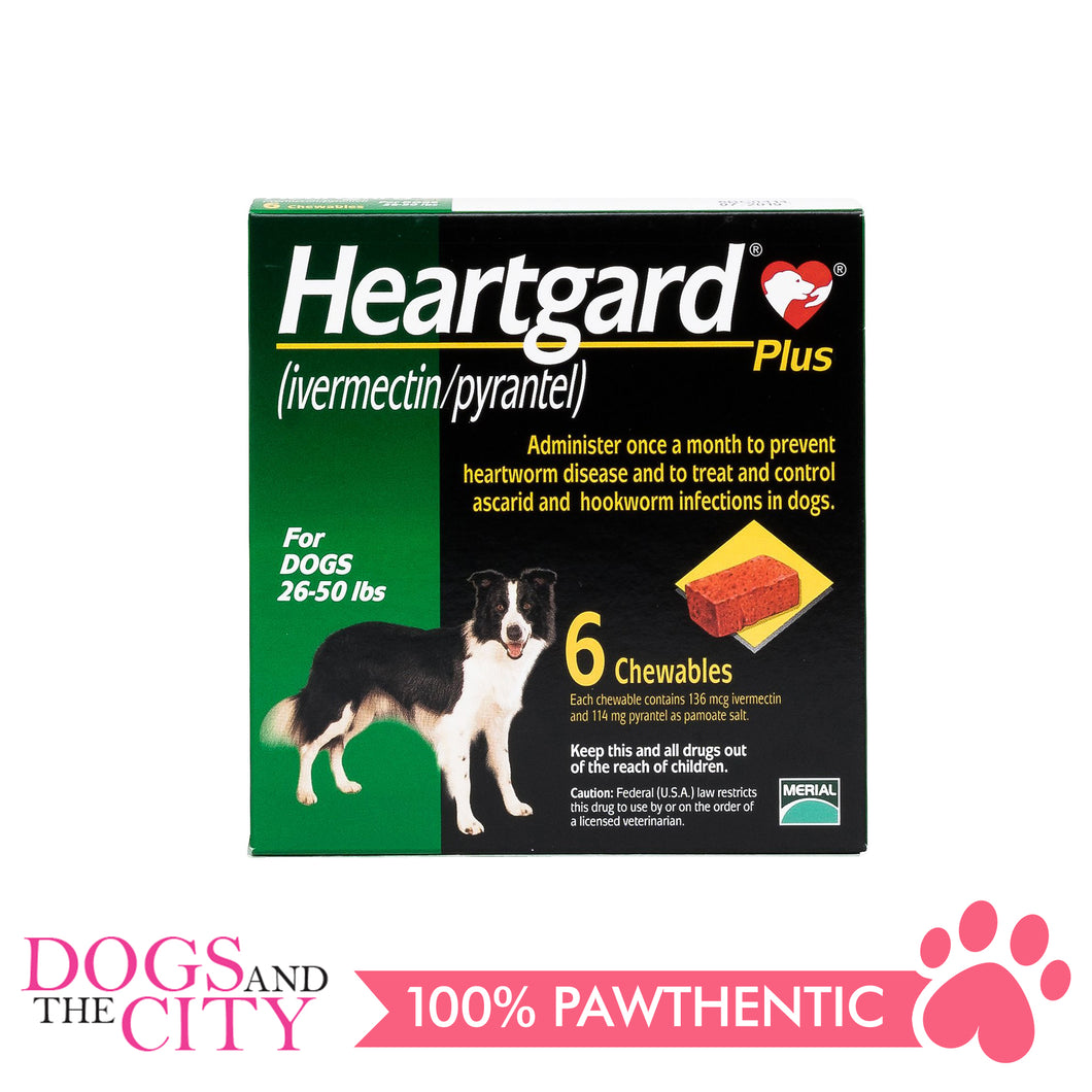 Heartgard Plus Chewable Tablets for Dogs, 12kg to 22kg (6 chewables) - All Goodies for Your Pet