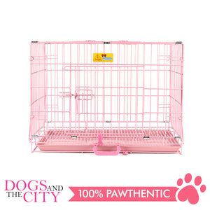 JX D214MA Foldable Pet Cage 45x30x37cm Size 1 Pink - All Goodies for Your Pet